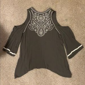 Olive Green Embroidered Cold Shoulder Top Size L